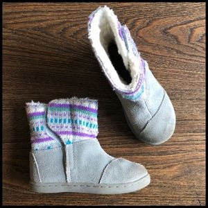 Toms Toddler Girl Sz 7 Gray Suede Nepal Snow Boots